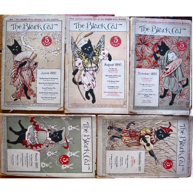 Seven Original Black Cat Magazines, 1897