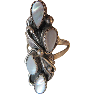 Navajo mother of pearl and silver ring