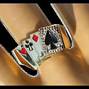 Men's Vintage 10K Deck of Lucky Poker Cards Gambling Enamel Diamond Casino Ring 9 3/4