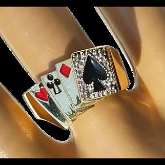 Vintage 10K Deck of Lucky Poker Cards Gambling Enamel Diamond Casino Ring 9 3/4