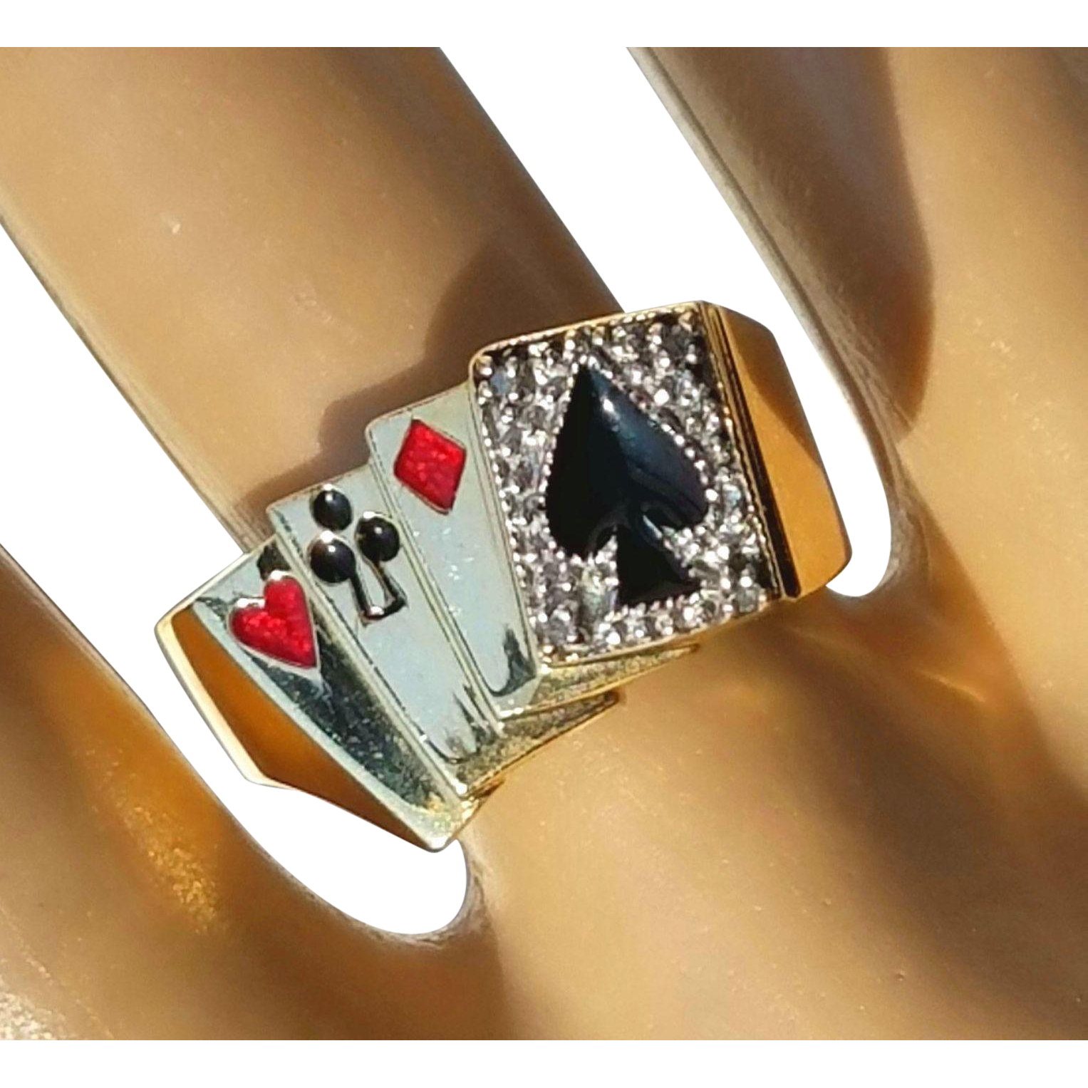 Vintage Deck of 'Lucky' Poker Cards Gambling Enamel Diamond Casino Ring 9 3/4