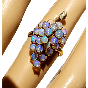 18K Victorian Cluster of Grapes Antique OPAL Ring 6.5