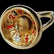 Vintage 14K 3D Spinning Moving Diamond Gambling Roulette Wheel Ring 7