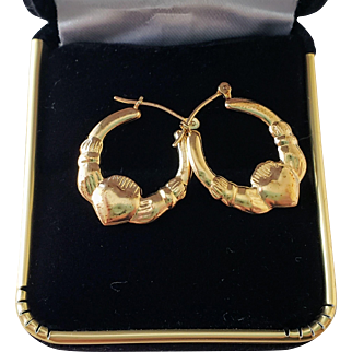 Vintage Pair of 14K Irish Celtic Claddagh Hoop Pierced Earrings