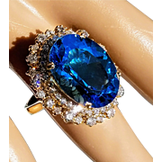 Huge 14K Natural Blue Topaz Double VS, F-G Diamond Halo Cocktail Ring 6.25