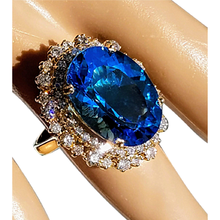 Natural Blue 17ctw Topaz & Diamond 14K Cocktail Ring 6.25