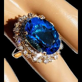 14K Large Natural Blue Topaz and VS Diamond Cocktail Ring 6.25