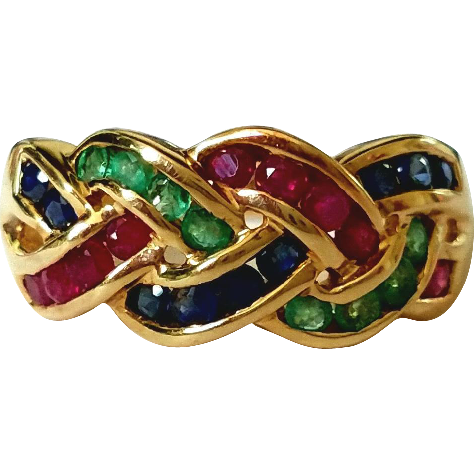 14K Emerald Ruby Sapphire Woven Celtic Knot 26 Vintage Gemstone Ring 7