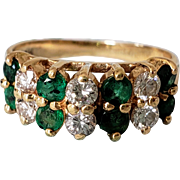14K Vintage Effy Emerald Diamond Double Row Band Semi-Eternity Ring 5