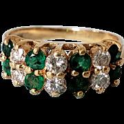 14K Vintage Effy Emerald Diamond Double Row Band Semi-Eternity Ring 5