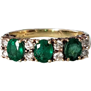 Pretty 14K Natural Emerald and Diamond Cluster Semi-Eternity Ring 7