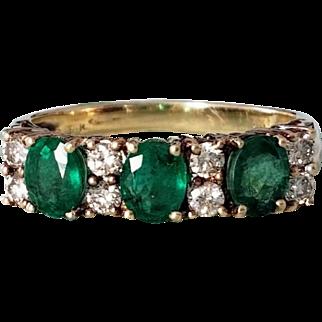 Vintage 14K Natural Emerald Diamond Semi-Eternity Ring 7