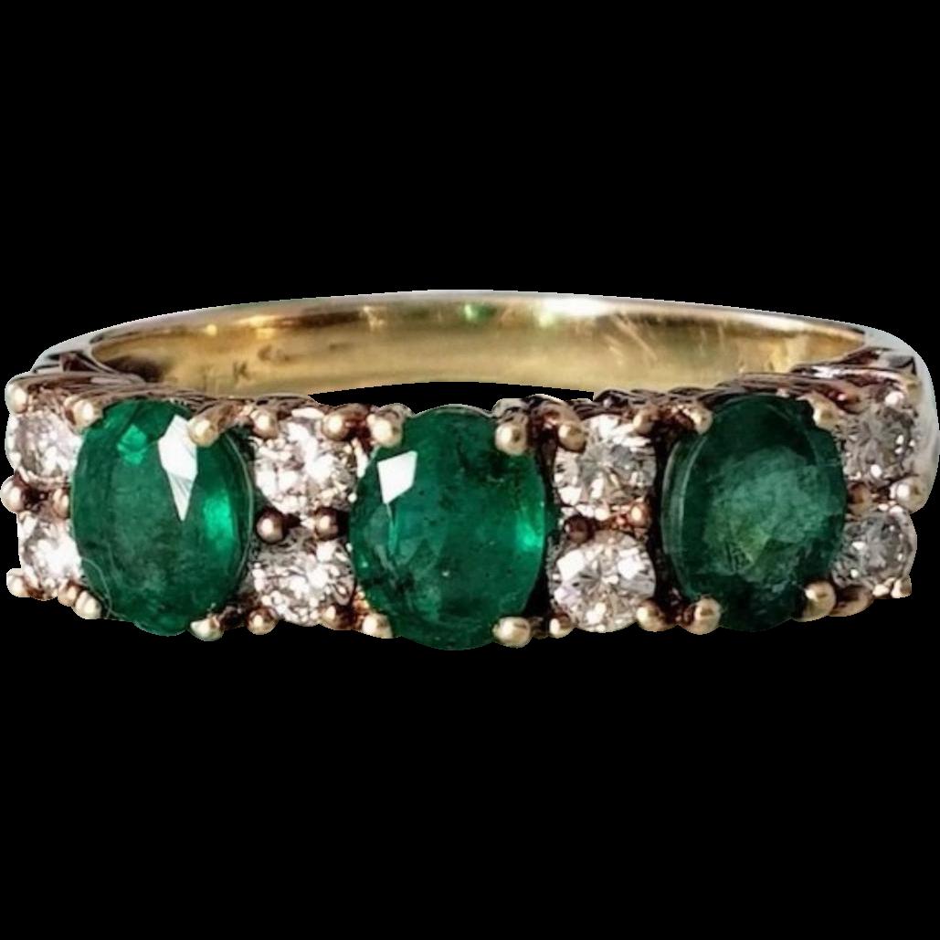 Pretty 14K Natural Emerald and Diamond Cluster Semi-Eternity Ring 7