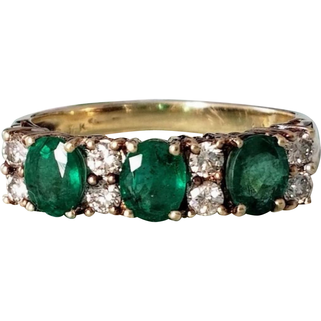 14K Emerald & Diamond Semi-Eternity Ring 7