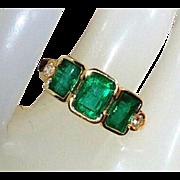 Beautiful 14K Vintage Natural Emerald Old Cut Diamonds Ring 5
