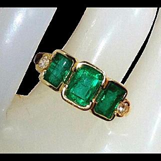 14K Vivid Dark Green Colombian Emerald and Old Cut Diamonds Ring 5