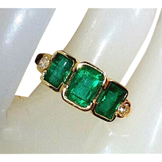 14K Vivid Genuine Colombian Emerald Old Cut Diamond Ring 5