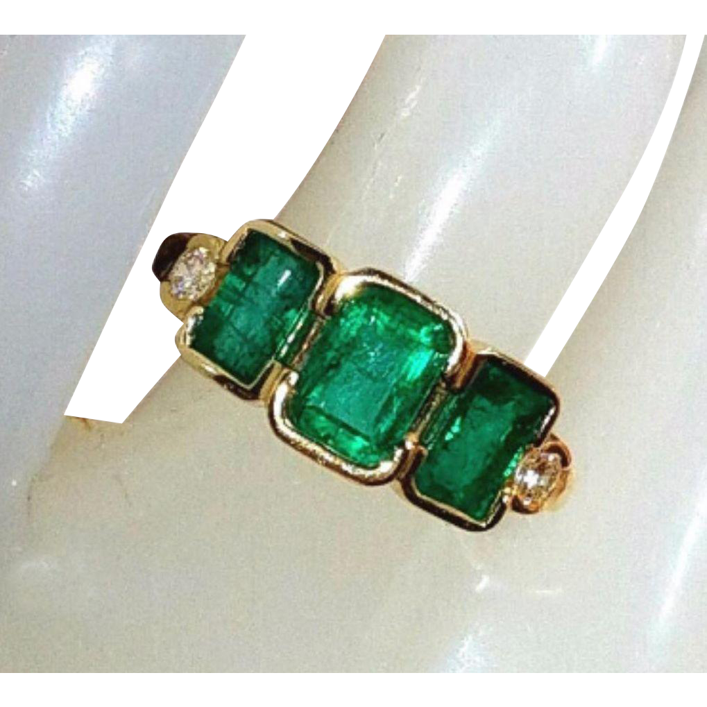 Beautiful 14K Vintage Natural Emerald Old Cut Diamonds Ring 5
