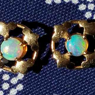 Vintage Pair of 14K Natural Opal Pierced Earrings