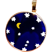 14K Italian Cobalt Blue Glass Vintage Moon Stars Pendant for Necklace Italy