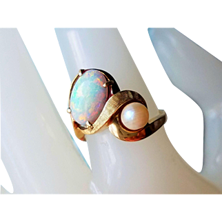 Vintage Mod 50's Cultured Pearl and Opal 14K Ring 6.5