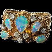 14K Natural Opal Diamond Peacock Ring 6 3/4 Gorgeous!