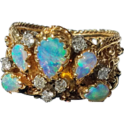 """Gorgeous 14K Opal Cluster and Diamond """"Peacock"""" Ring 6 3/4"""