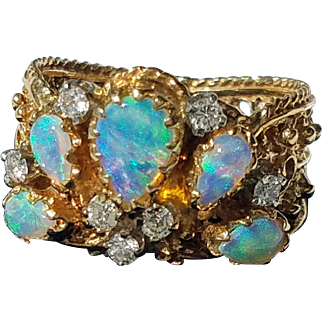 Gorgeous 14K Vintage Opal and Diamond Cluster Filigree Ring 6 3/4