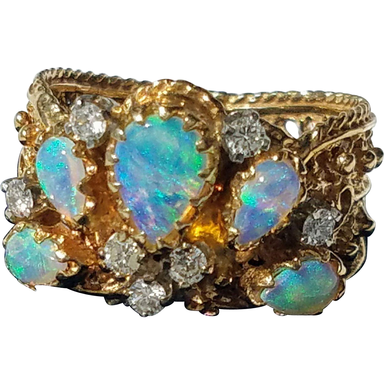 Pretty 14K Opal and Diamond Cluster Filigree Ring 6 3/4