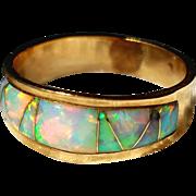 14K Colorful Natural Australian Inlaid Opal Semi Eternity Ring Band 5 3/4