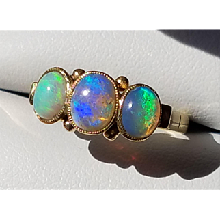 Antique 18K Victorian 3 Stone Opal Trilogy Ring 5.5