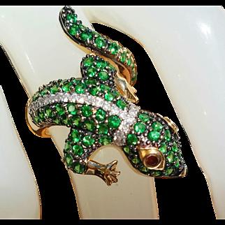 14K Green Tsavorite Garnet Diamond Gecko Lizard Chameleon Ring 5.25
