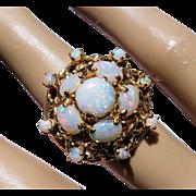 Vintage 14K Large Opal Cabochon Cluster Retro Dinner Cocktail Ring 6