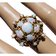 14K White Crystal Opal Cabochon Cluster Retro Cocktail Ring 6
