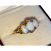 14K Three-Stone Natural Opal Vintage Ring 5.5
