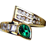 14K Pear-Shaped Natural Emerald & Diamond Bypass Vintage Ring