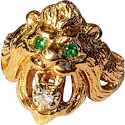 14K Quality Lions Head Ring Emerald Eyes Diamond Mouth 10.25