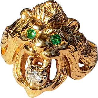 14K Vintage Lions Head Ring Emerald Eyes Diamond Mouth 10.25