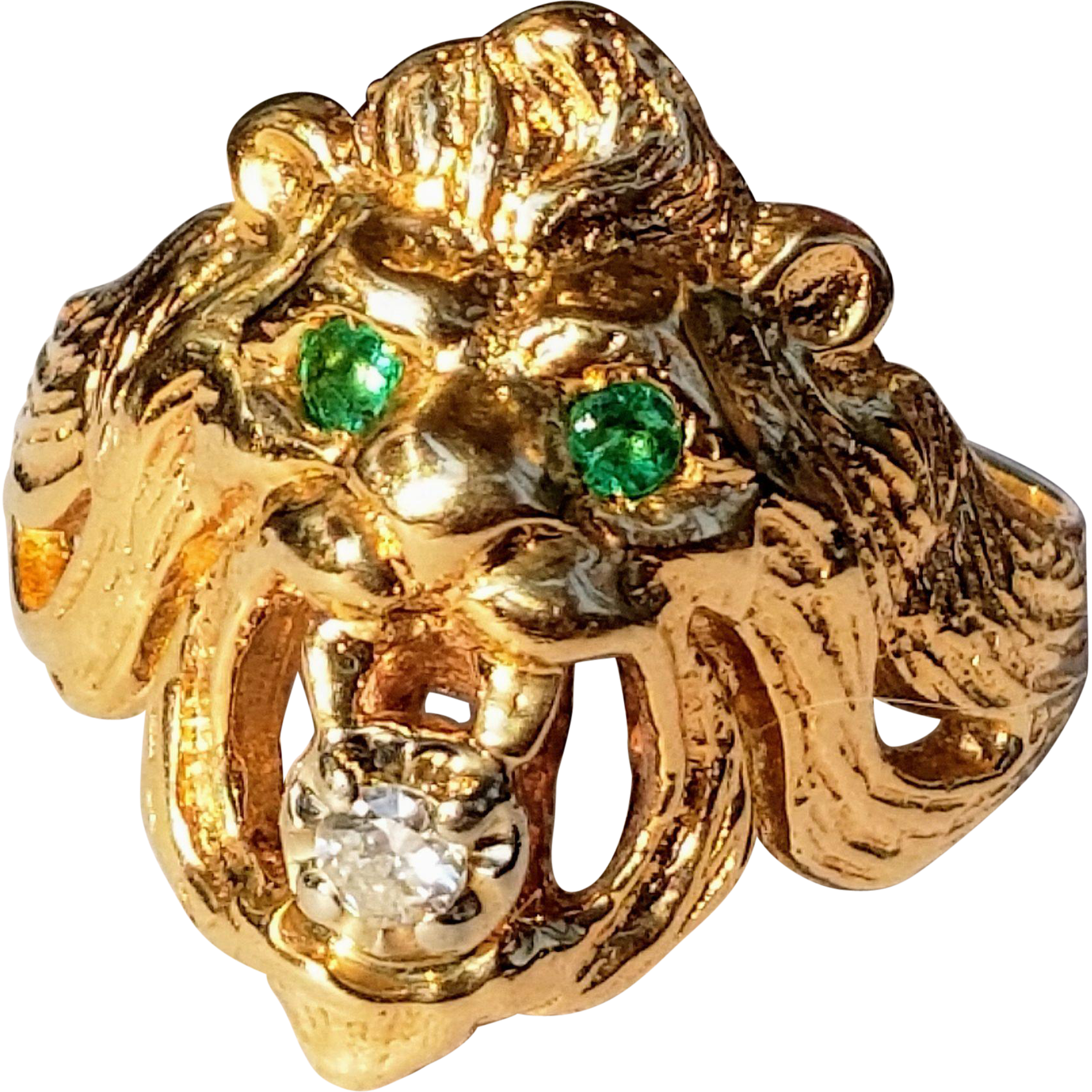 Beautiful 14K Lion's Head Ring with Emerald Eyes Diamond Mouth 10.25