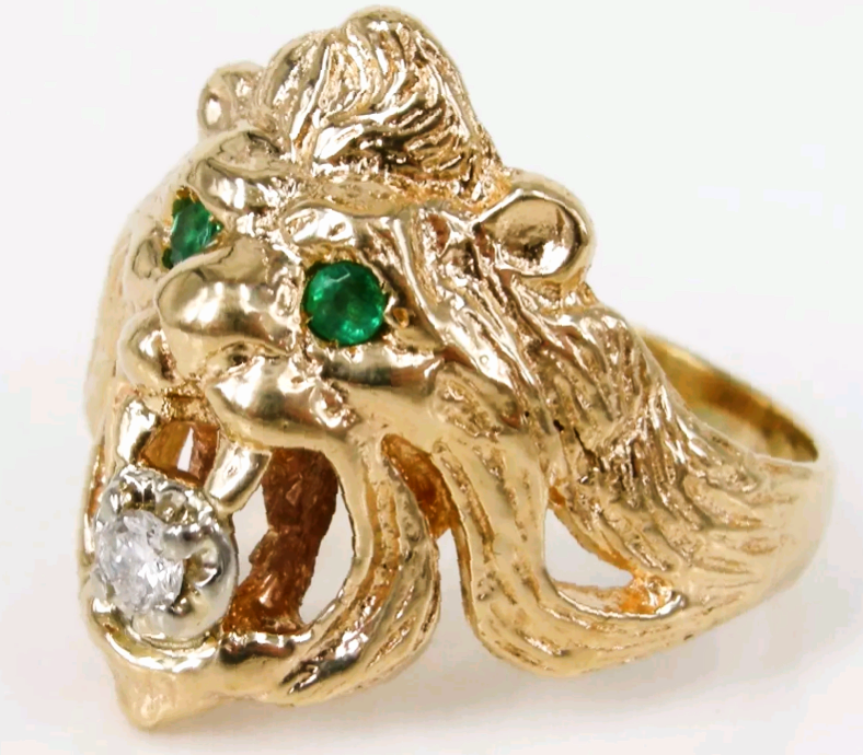 Vintage 14K Lion s Head Ring Emerald Eyes Diamond Mouth 10 25 from