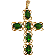 14K Chrome Green Tourmaline Cross Pendant for Necklace