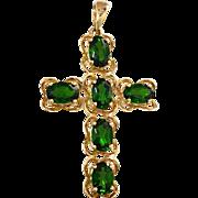 14K Chrome Green Tourmaline Cross Pendant for Necklace