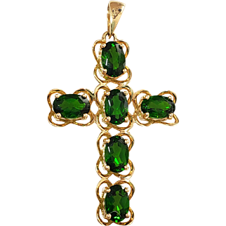 14K Green Tourmaline Cross Pendant for Necklace