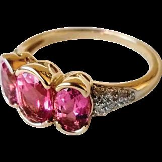 Vintage 14K Pink Tourmaline Diamond Gemstone Ring 6