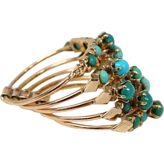 Antique Victorian 14K Rose Gold Hinged Stacked Turquoise Ring 5.5