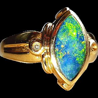 Pretty 14K Bright Australian Opal Diamond Ring 7