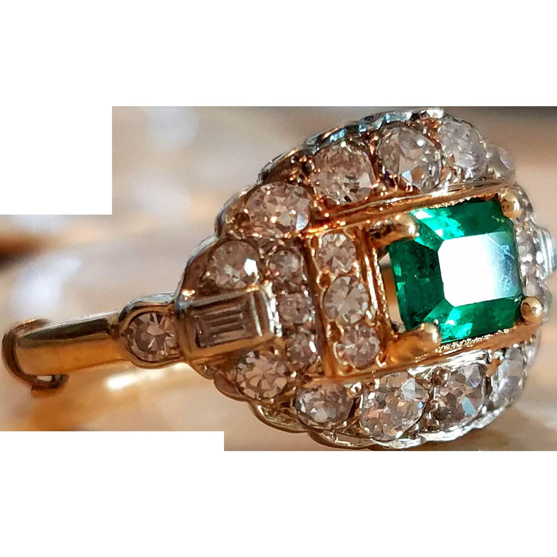Antique Edwardian Old Mine Diamond Emerald Cluster Heirloom Ring
