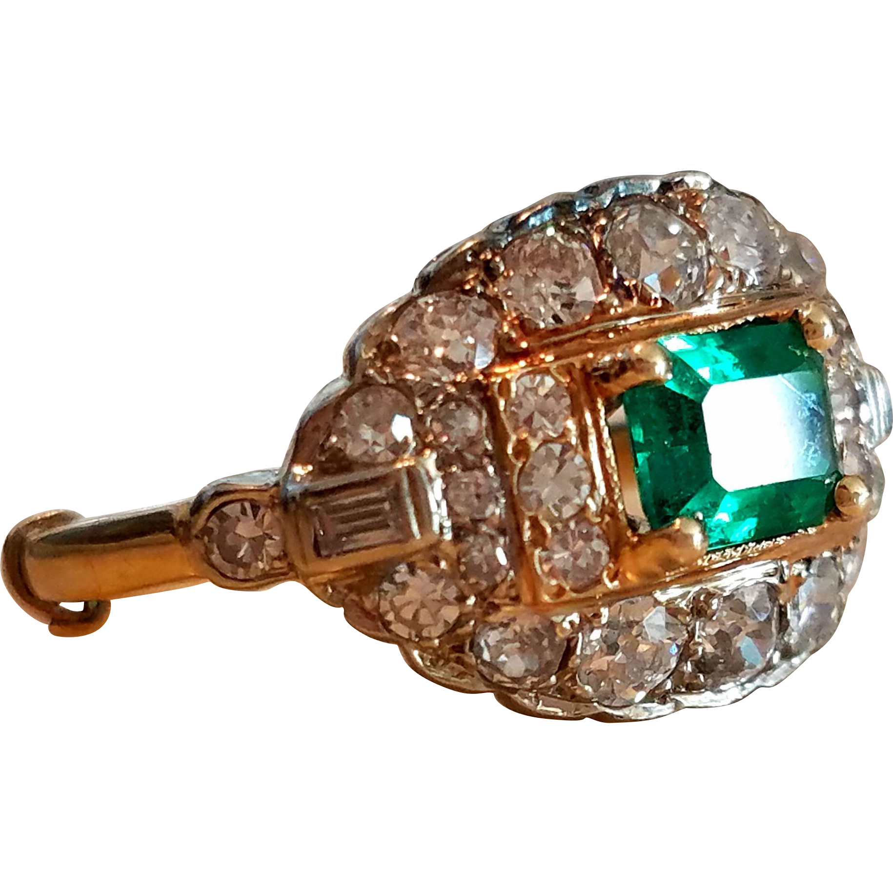 Antique 14K Natural Emerald Old Mine Diamonds Cluster Ring 6 3/4