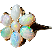 Vintage 14K Large Solid Opal Cluster Flower Ring 6.25