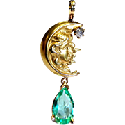 18K Art Nouveau Lady Moon Natural Emerald & Old Mine Diamond Antique Pendant Necklace